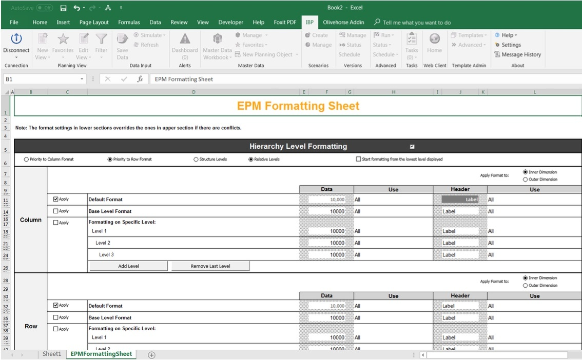 Personalise your SAP IBP Excel Add-In